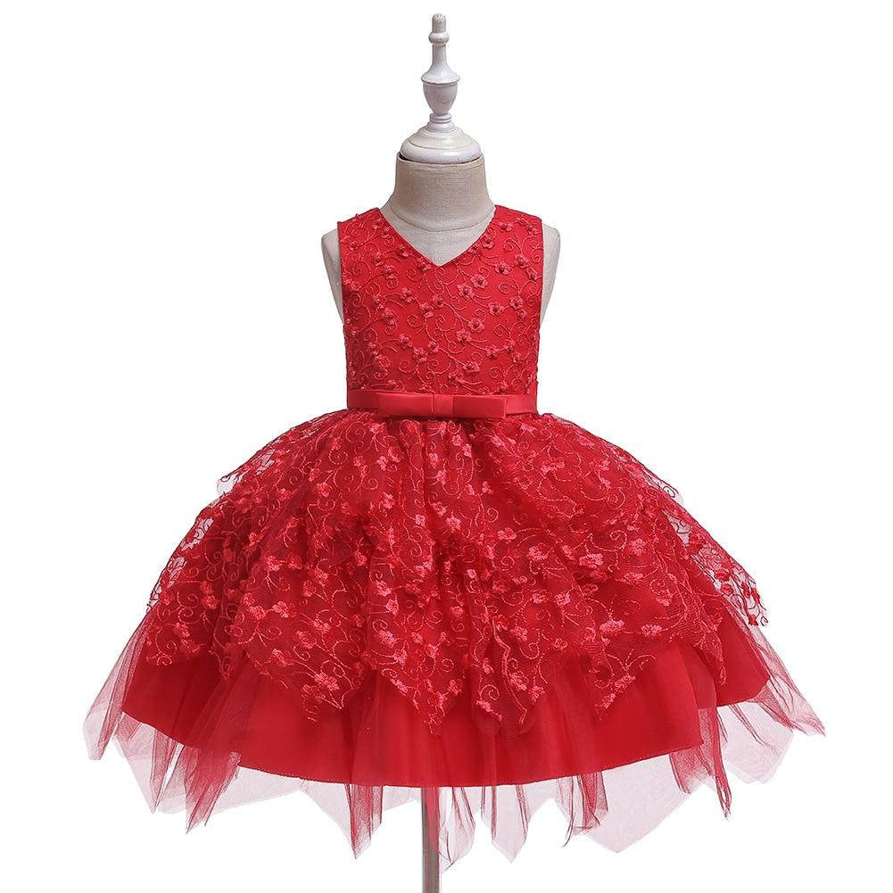 Vestidos asimétricos de tul para fiesta de cumpleaños de niños vestidos de ceremonia rosa blanco de Navidad vestido de flores rojas para niñas
