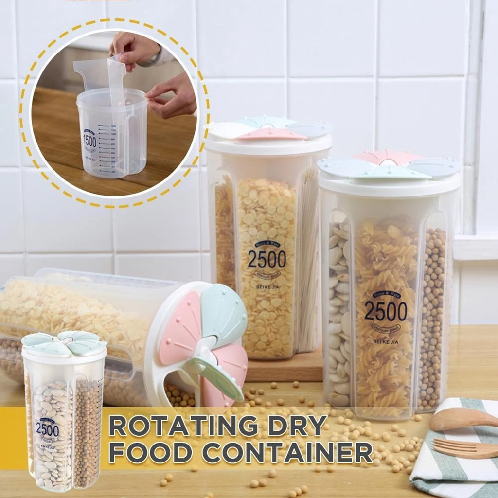 Forma de pétalo grano sellado puede 4 espacios caja de almacenamiento transparente plástico seco alimentos caja de almacenamiento a prueba de humedad contenedor de cereales