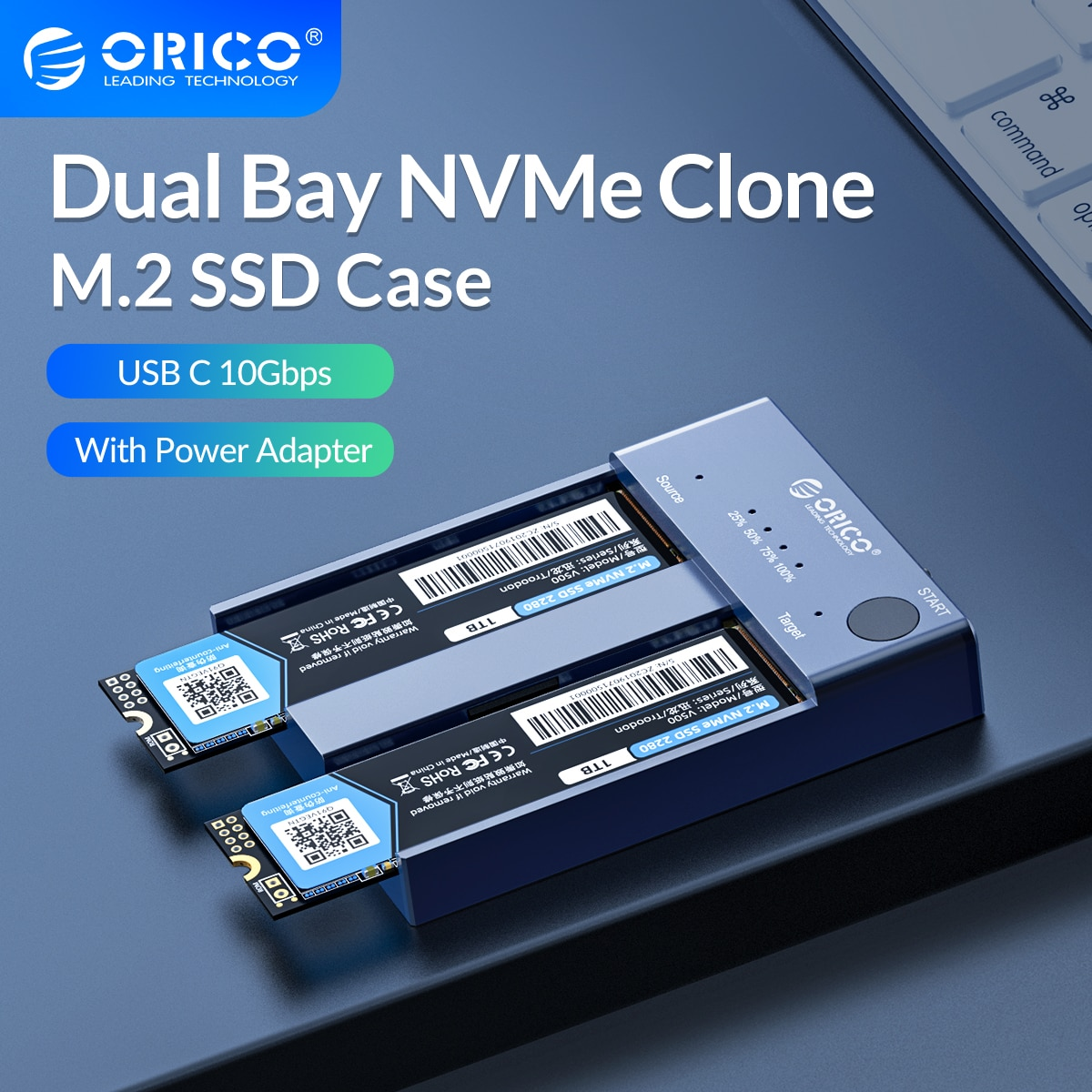 cfast card reader usb3 1 dual port usb a usb c portable gen2 10gbps cfast reader ORICO Dual Bay M.2 NVME SSD Enclosure Offline Clone USB C 3.1 Gen2 10Gbps For M Key & M/B Key NVME PCIe SSD Hard Drive Reader