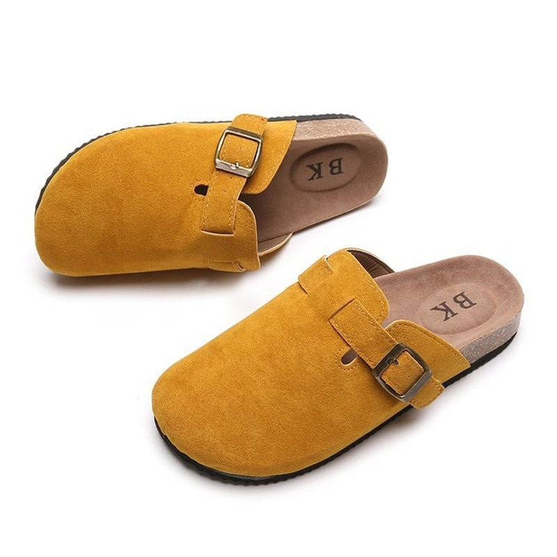 Summer Women Faux Suede Round Toe Platform Slippers Classic Metal Button Cork Mules Outdoor Home Ladies Casual Shoes Clogs