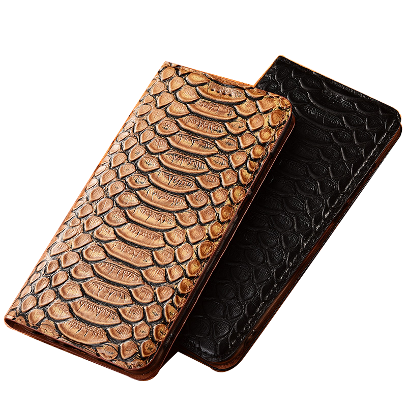 Python Grain Natural Leather Magnetic Phone Cover Card Holder Case For Sony Xperia XA1 Plus/Sony Xperia XA1 Phone Holster Cases