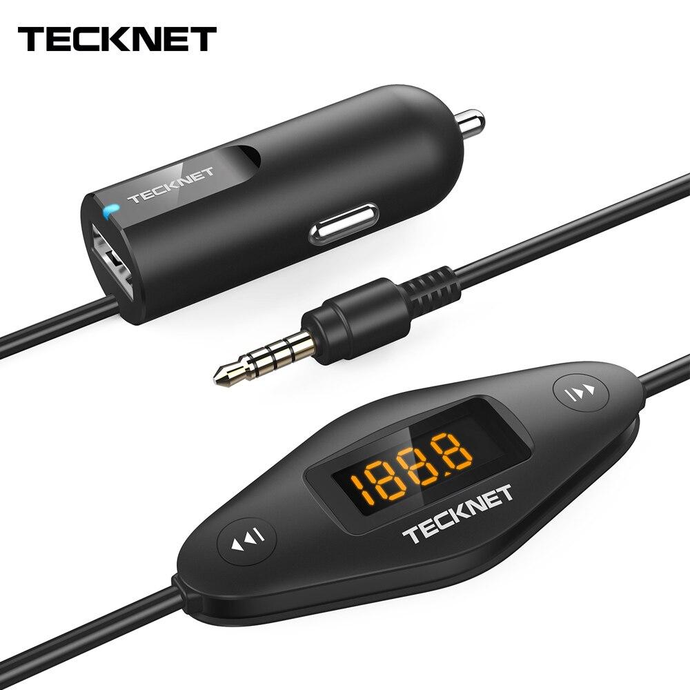 Автомобильное зарядное устройство TeckNet, быстрое зарядное устройство с Аудиоразъемом 3,5 мм, универсальный fm-передатчик F27 для iPhone, iPad, MP3/4