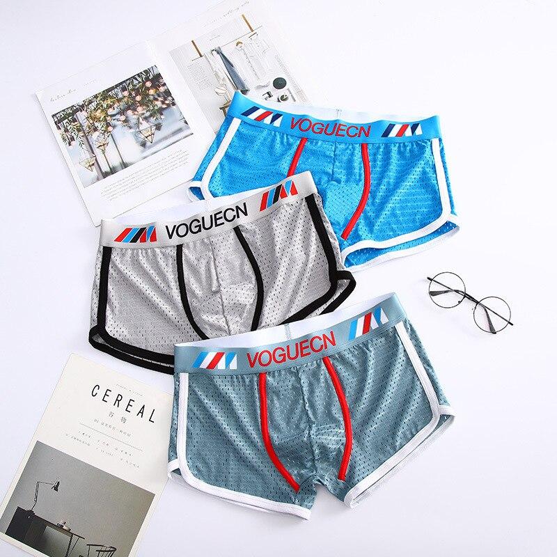 4Pcs/All Mens Boxer Shorts Ice Silk Men Underwear Casual Breathable Mesh Male Shorts Mid Waist Man P