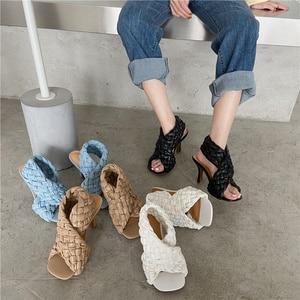 Back Strap Summer Shoes Women Casual Beach Sandals 2021 Fashion hand knitting Women black white blue Sandals Gladiator Sandals