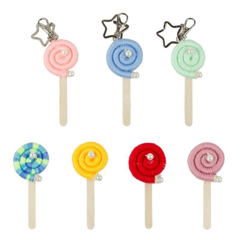 Hand Weaving Rainbow Ice Cream Keychain Bag Decorative Hanging Ornament Pendant Kids Baby Photography Props
