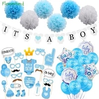 boy or girl baby balloon set boy girl photo props birthday party decoration banner paper flower ball set baby shower decorations