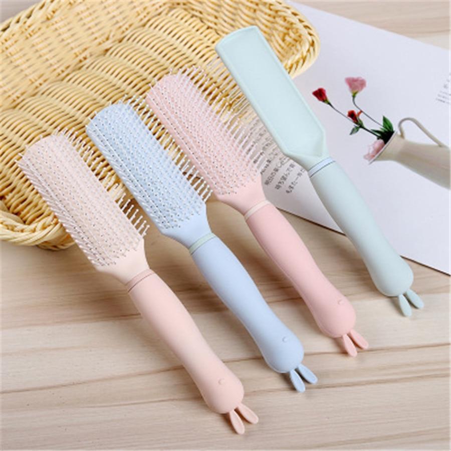Cabeça de coelho dos desenhos animados airbag pente de cabelo resistente durável longa placa escova de cabelo e024