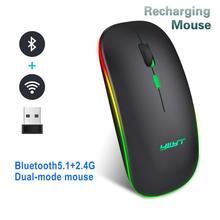 Souris sans fil Bluetooth 5.1 Rechargeable silencieux 2.4G souris optique ergonomique 1600 DPI coloré lumineux bureau muet souris