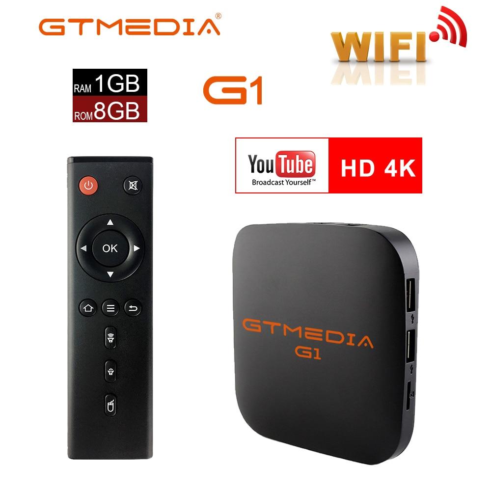 G1 Android TV caja de GTmedia caja de TV inteligente Android 7,1 1GB 8GB Amlogic S905W apoyo m3u IPTV 2,4 GHz WiFi Set Top BOX PK X96 Mini
