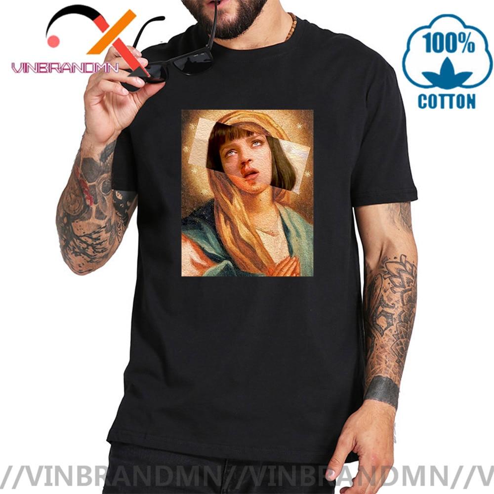 2020 Pulp Fiction Virgin Mary Mia Wallace hombres Camiseta de manga corta cuello redondo Camiseta 100% ropa de algodón Streewear camiseta tendencia camisetas
