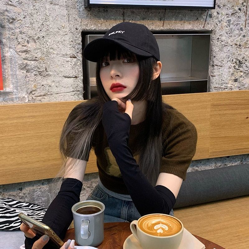 Hat Female Peaked Cap Ins Japanese Soft Top Korean Style Casual Letters All-Match Sun-Proof Face-Loo