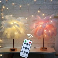 remote control feather table lamp usbaa battery power diy creative warm light tree feather lampshade wedding home bedroom decor