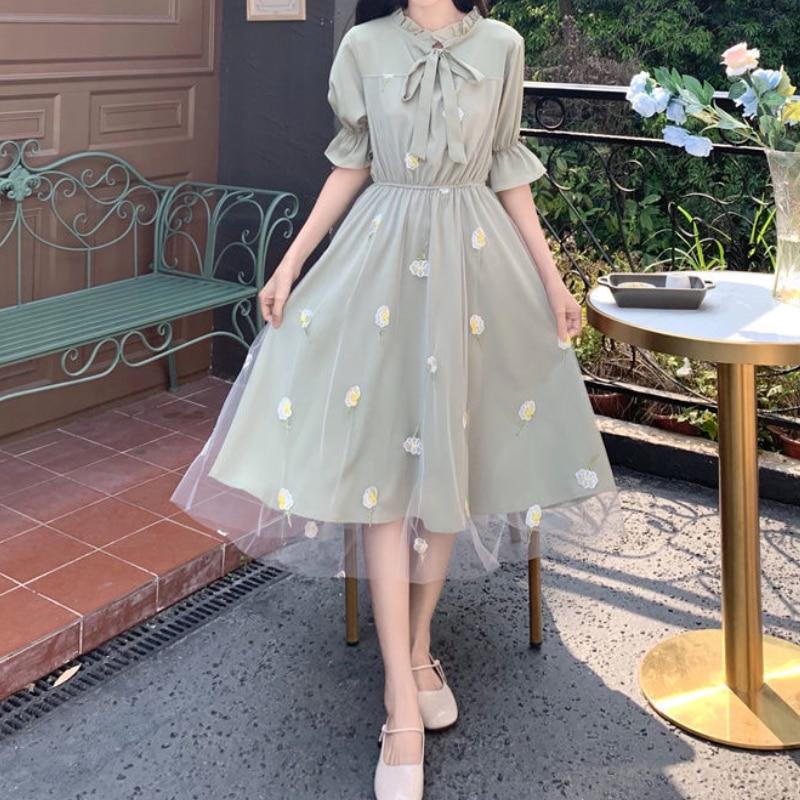 HOUZHOU Green Dress Woman Mesh Elegant Sweet Midi Dress Summer Kawaii Fairy Outfits Tulle Muslin Sundress 2021 Fashion Women