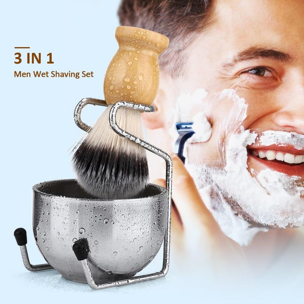 Escova de Barbear Inoxidável para Homens Texugo Cabelo Punho Madeira Claro Acrílico Suporte Tigela Aço Molhado Barbear Escovas Conjunto Presente 26mm