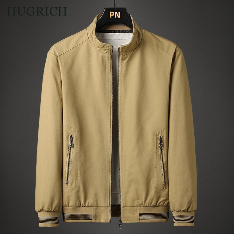 Мужская Осенняя новая куртка, повседневная куртка цвета хаки, хлопковая модная универсальная Удобная осенняя куртка на молнии с воротником...