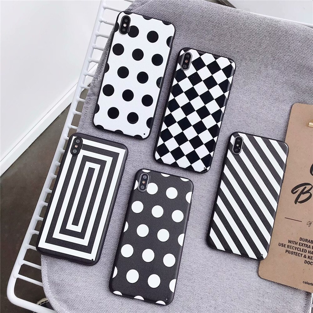 Ponto de onda volta capa para iphone 11 pro max xs x xr 5 5S se preto branco ponto à prova choque caso para apple iphone 7 8 plus 6 s