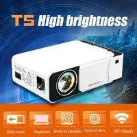 Mini projecteur video portable lcd T5  2600 lumens  4k  3d  1080p  hd  pour home cinema  multimedia  ir  usb  av  vga  port hdmi