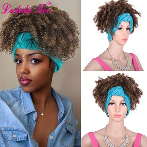 Short Afro Puff Kinky Curly Synthetic Drawstring Headwrap Turban Wig for Black Women African American Updo