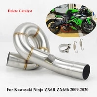 zx6 r zx636 middle pipe slip on motorcycle exhaust middle link tube for kawasaki ninja zx6r 2009 2020 delete catalyst pipe