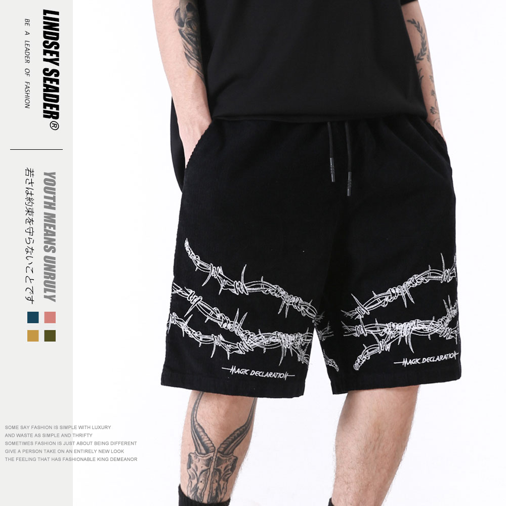 Moda Lindsey Seader 2020, pantalones cortos deportivos de Hip Hop informales para verano, pantalones cortos estampados para hombre, pantalones cortos de tipo Cargo, pantalones de chándal holgados con cordón ajustable