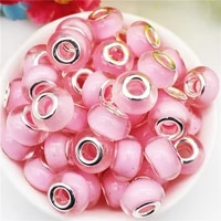 10pcs pink color round loose resin european beads charms fit pandora bracelet bangle diy curtains keychain for jewelry making
