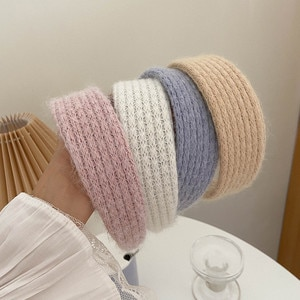 QCOOLJLY Winter Warm Wool Knitted Hairband For Women Wide-Brimmed Headband Retro Wild Elastic Hairband Hair Accessories