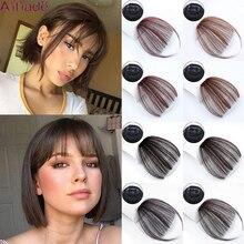 AILIADE-flequillo de aire delantero liso para mujer, color marrón claro, marrón oscuro, con flecos delanteros, 1 Clip