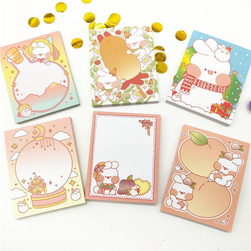 1pcKawaii Memo Pad Bookmarks Creative Cute doodle rabbit note book can tear portable small book cute creative books