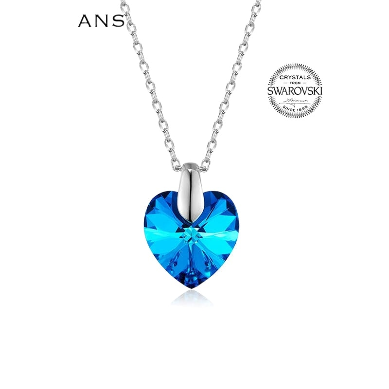 Austrian Natural Crystal Ocean Heart S925 Sterling Silver Necklace Women Pendant Necklace Crystal Je