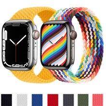 Correa trenzada para Apple Watch, pulsera elástica de nailon para iWatch 3, 4, 5, SE, 6, 7, 44mm, 40mm, 45mm, 41mm, 42mm/38