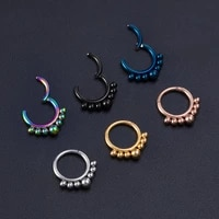 1pc nose ring hoop labret surgical steel 16g bead hinged daith clicker hoop seamless ring helix daith septum piercing earrings
