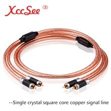 XccSee câble de Signal de fièvre Double tête de Lotus RCA monocristallin cuivre noyau carré cuivre HIFI Audio Signal câble