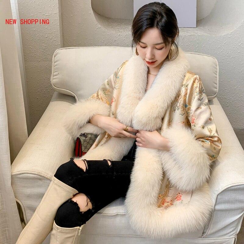 Thick Warm Winter Jacket Women Female Luxurious Dragon Print Embroidery Elegant Cloak Bead Overcoats Elegant Faux Fox Fur Coat