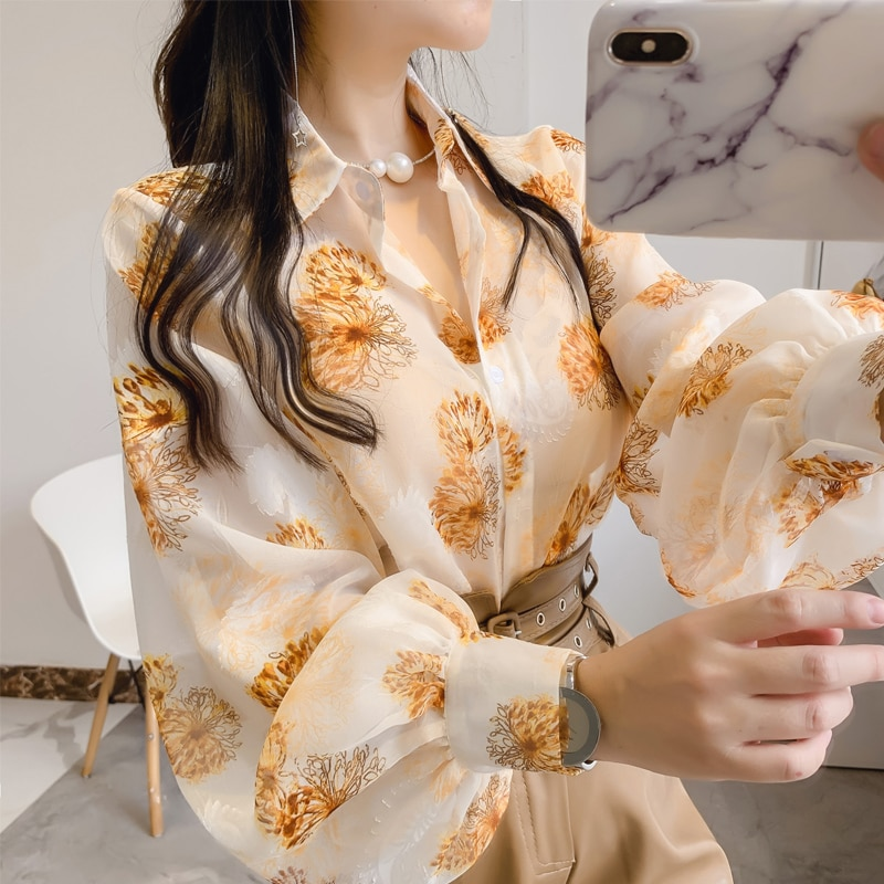 Embroidered blouse women new style 2021 foreign fashion all-match printed chiffon lantern sleeve shirt