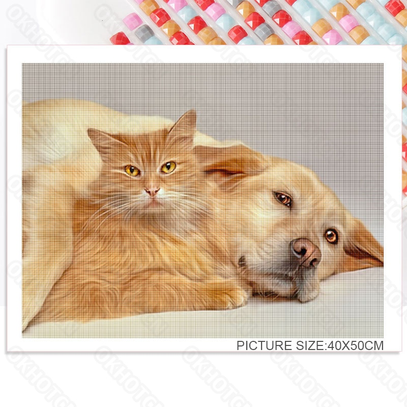 Diy Diamond Painting Full Diamond Open Mouth Dog Home Decoration Handmade Mural Porch Corridor Bedroom Bedside Painting  - buy with discount
