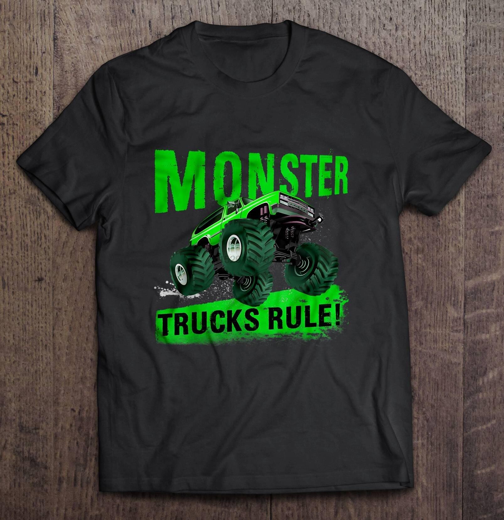 Camiseta masculina engraçado t camisa moda camiseta monster trucks rule version2