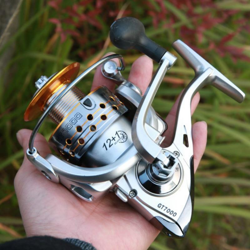 12 + 1 rolamento pré-carregamento roda de fiação carretel de pesca de metal roda de fiação mar inoxidável rasa carretel de água GT2000-6000