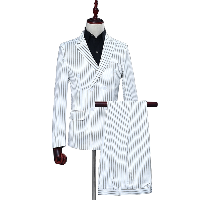 White Stripe Elegant Suit Blazer With Pants 2 Pieces Set Men Business Slim Formal Jacket For Shows Party Double Breasted Coat