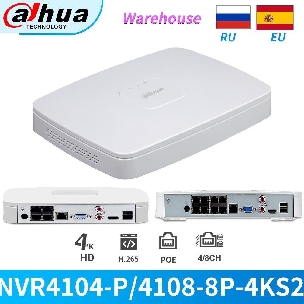 داهوا NVR 4K 4/8CH POE 8MP NVR NVR4104-P-4KS2 NVR4108-8P-4KS2 H265 شبكة مسجل فيديو كام HDMI VGA للكاميرا IP CCTV