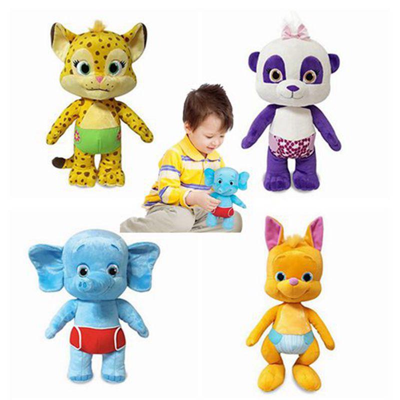 ¡Novedad de 2020! Juguetes de peluche de 25cm para fiesta con palabras, juguete de peluche de aprendizaje, Lulu Franny Bailey Kip, regalo para niños con elefante y Panda de leopardo