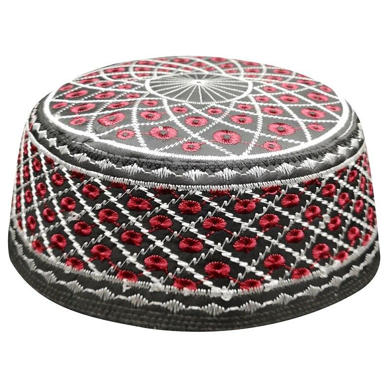 Hindistan kırmızı siyah Kippah müslüman dua kapaklar erkekler için Yarmulke şapkalar yahudi Kippah Chapeau Musulman Bonnet yahudi şapkalar arapça