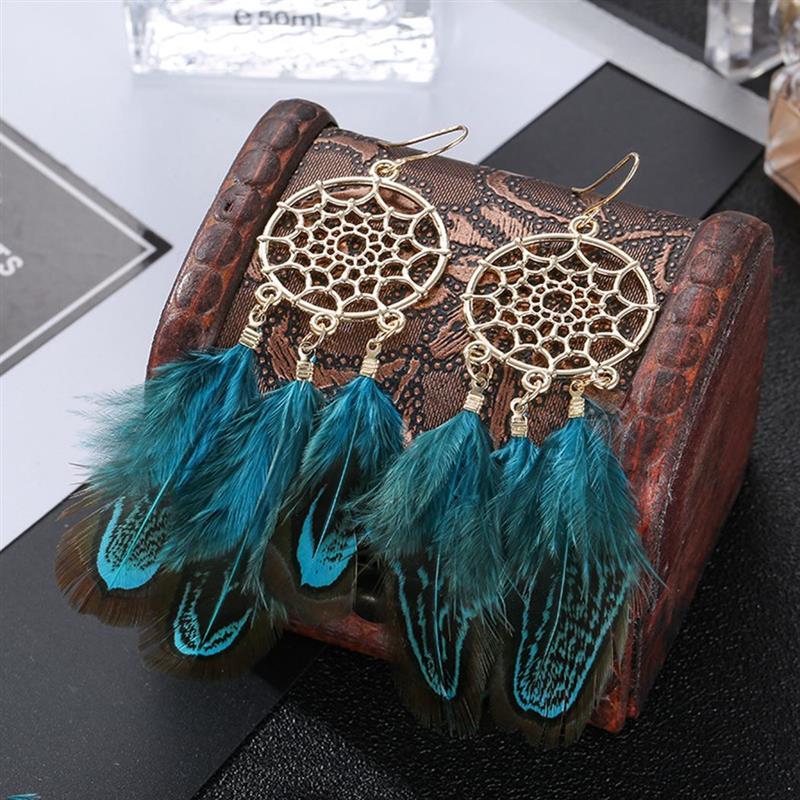 Boucles doreilles bohême plume longue conception capteur de rêves boucles doreilles pour femmes Bijoux plume ornements boucle doreille Oorbellen Bijoux