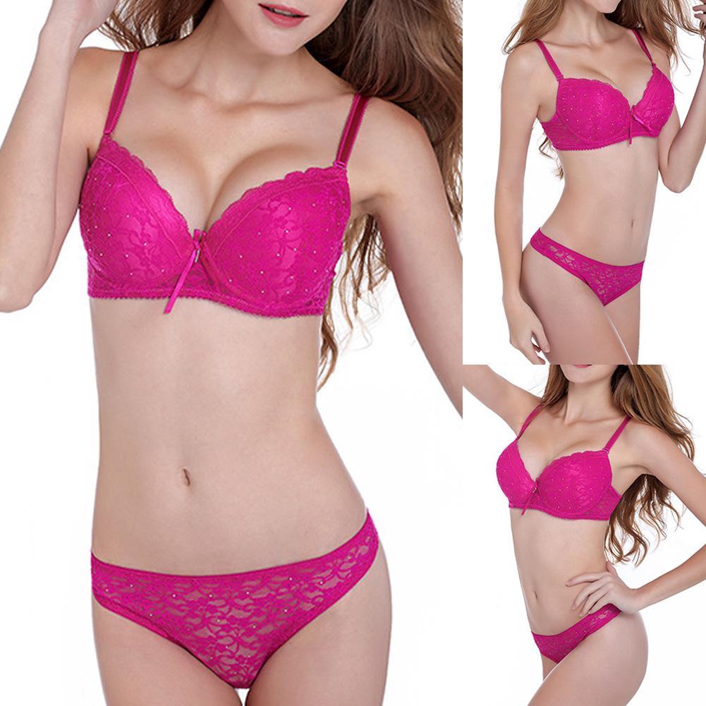 2020 Mulheres Sexy Lace Strass Conjunto de Roupa Interior Push Up Bra Sutiã Tangas G-corda roupa interior das Mulheres нижнее белье