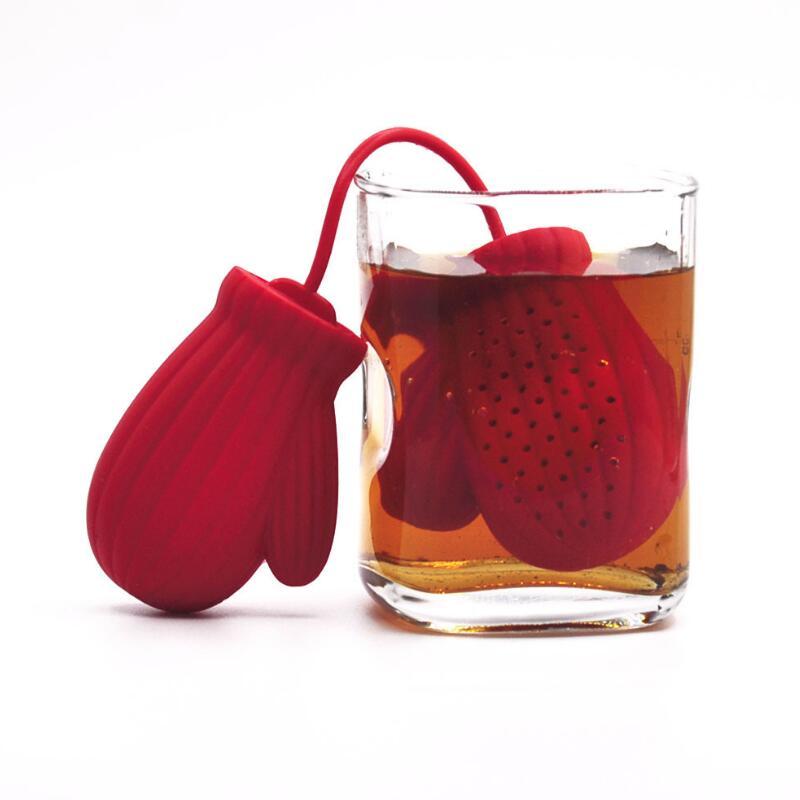 مصفاة شاي سيليكون على شكل قفازات سانتا كلوز ، مصفاة شاي ، مصفاة قهوة ، هدية رأس السنة الجديدة ، زخرفة الطاولة LX8140