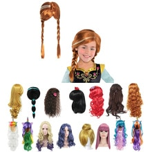 Girls Anna Elsa Wig Dress Up Braid Mermaid Princess Fancy Makeup Headwear Kids Halloween Party Cospl