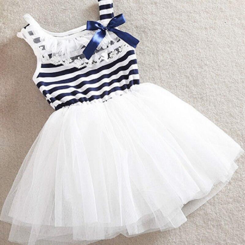 Vestido de bebé niña, lazo con rayas, gasa de lazo, ropa pequeña, vestido de verano, nuevo Vestido de manga corta para niña, versión coreana, puro algodón sin mangas