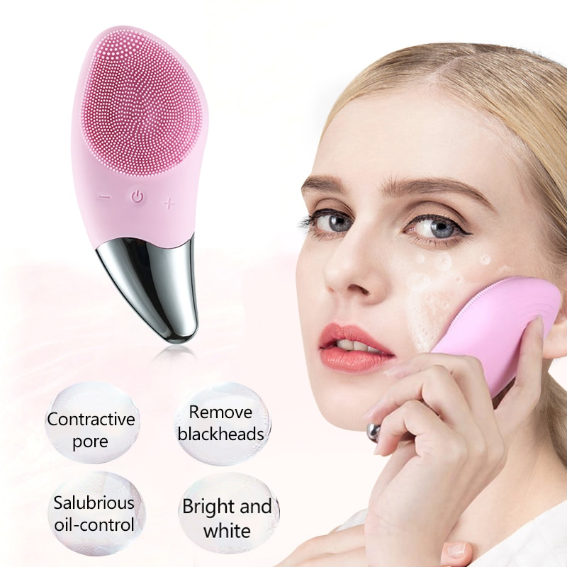 Electric Facial Cleansing Brush Professional Face Washing Brush Deep Skin Blackhead Remover Pore Cleaner Silicone Face Massage недорого