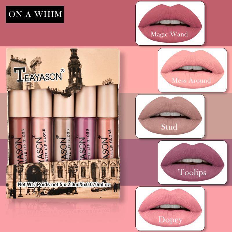 5 Colors Velvet Matte Lipstick Set Lip Gloss Lip Glaze Set Pumpkin Color Matte Non-Stick Cup Non-Fading Lipstick Cosmetic TSLM1