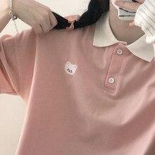 Polo ricamate con orso T-shirt in cotone da donna femminile manica corta Kawaii T-shirt carina T-shirt oversize allentata Vintage adolescenti