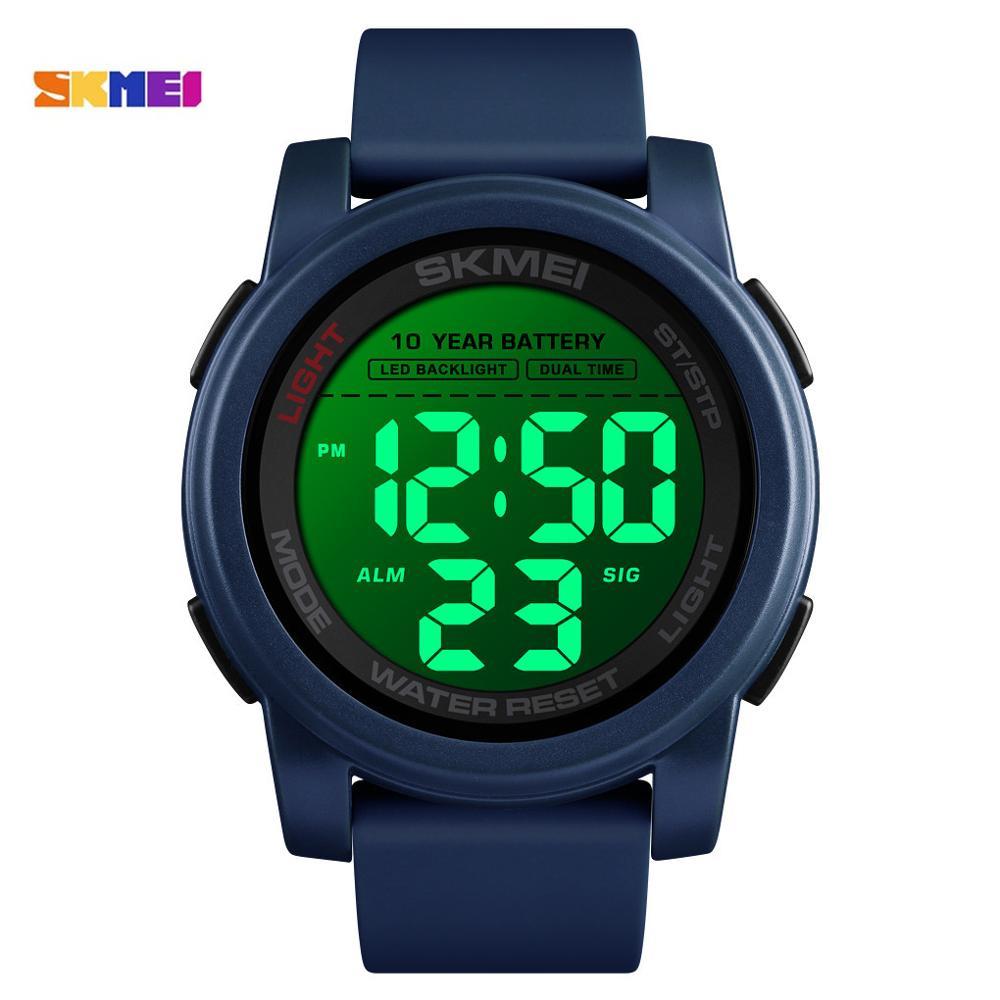SKMEI Men's Watches Sport Wristwatches LED Back Light 2 Time Clock Waterproof Japan Movement Electronic Watch Relogio Masculino